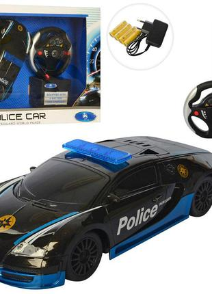 Машинка на радио пульте управления полиция черная bugatti