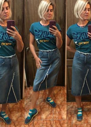 Юбка джинсовая миди ретро винтаж скейтерская