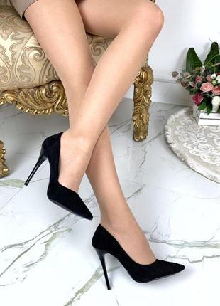 Чёрные замшевые туфли лодочки на шпильке, чёрные замшевые туфл...
