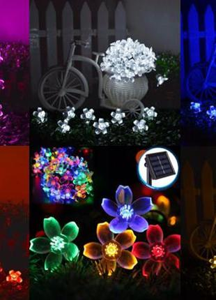 Гирлянда цветы на солнечной батарее 50LED 7м разные цвета 8 режим