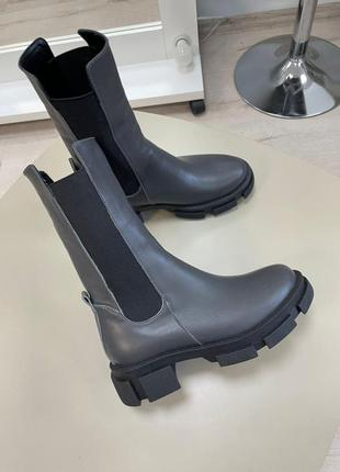 Массивные ботинки челси натуральная кожа платформа зима весна
