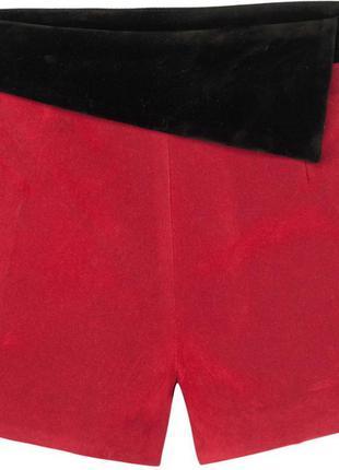 Красные бархатные шорты на высокой талии zara amisu
