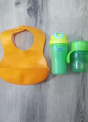 Детские бутылочки + силиконовый слюнявчик