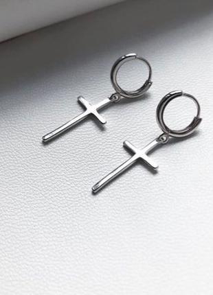 Крутые серьги крестики, серебро 925