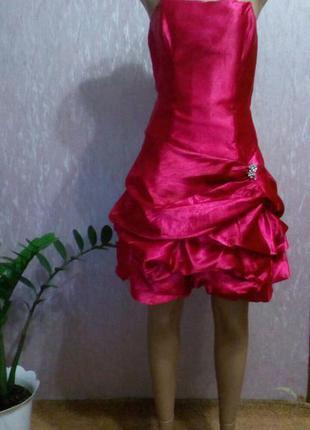 Короткое нарядное, вечернее платье бюстье с пышной юбкой