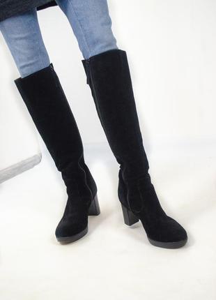 Замшевые высокие сапоги до колен из натуральной кожи 39 (25,5)
