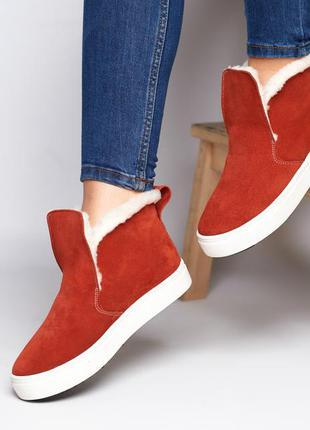 Женские замшевые ботинки на меху