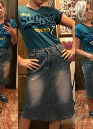 Джинсовая юбка стрейч ретро винтаж 90е