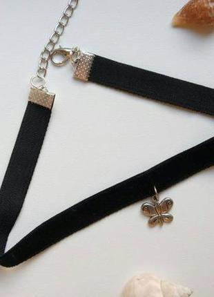 Чокер бархатный черный, с подвеской бабочка, метелик, велюровы...