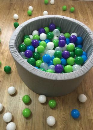 Серый сухой бассейн с шариками детский 90х40 см