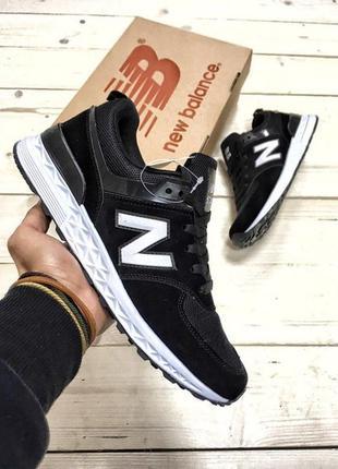 Мужские кроссовки нью беленс чёрные new balance 574 black white