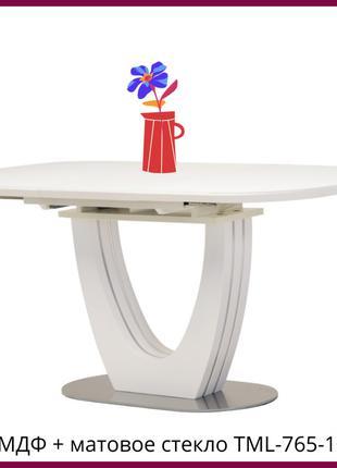 Раскладной обеденный стол МДФ + матовое стекло TML-765-1 белый