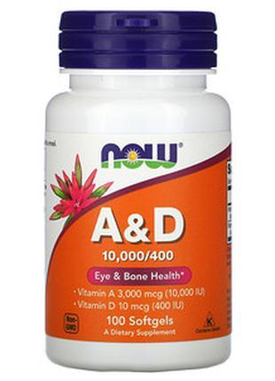 Now Foods, добавка с витаминами A и D, 100 шт.