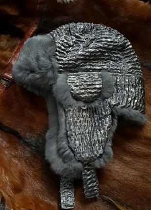 Шапка ушанка натуральный мех