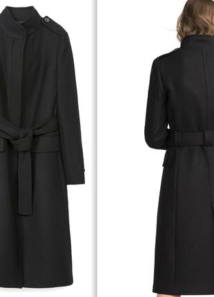 Шерстяное натуральное приталенное пальто zara черное миди