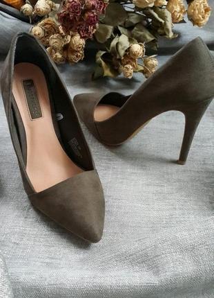 Туфли лодочки сабо оливкового цвета