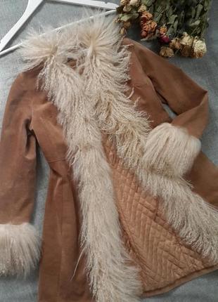 Пальто натуральная замша с мехом ламы