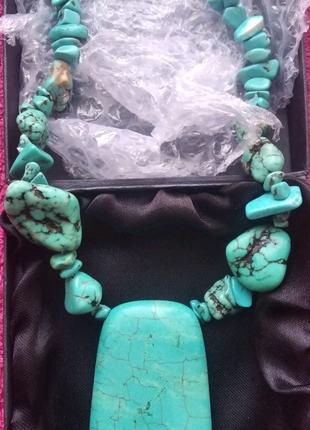 Бирюза! натуральный камень. Ожерелье ручной работы