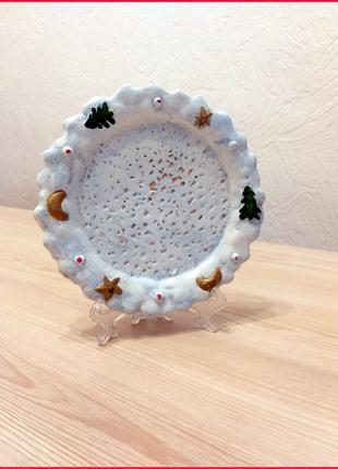 Керамическая тарелочка для печенья санты винтаж