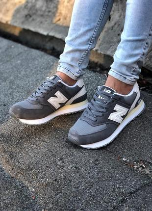 New balance 574 grey женские серые кроссовки нью беленс демисе...