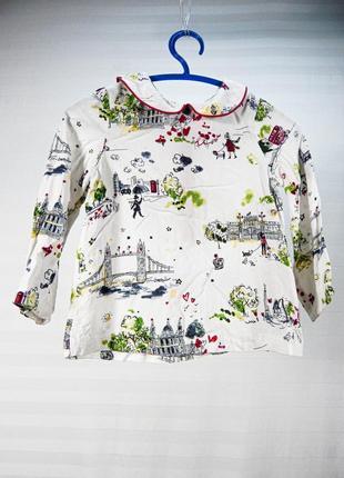 Легкая вискозная рубашка с воротником