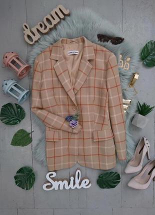 Актуальный винтажный шерстяной пиджак в клетку №9