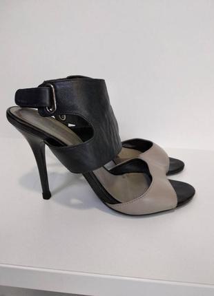 Босоножки кожаные черные серые размер 39 стильные