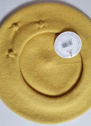 Качественный фетровый берет tonak fezko желтый чехия