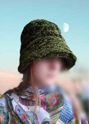 Тёплая меховая шляпа панама зелёная/женская плюшевая шапочка с...