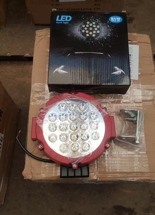 Фара LED круглая красная 51W, 21 лампа, 10/30V 6000K