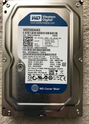 Жесткий диск WD2500AAKX на 250 Гигабайт Гб в рабочем состоянии