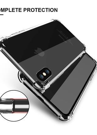 Чехол для iPhone X 10 Противоударный прозрачный(золото) силиконов