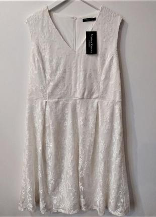 Новое белое кружевное платье большого размера