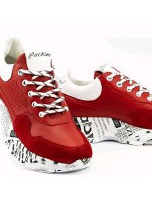 Женские кроссовки кожаные красные-белые Carlo Pachini 4620/2/20-4