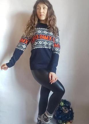 """Фирменный h&m новогодний свитер """"xmas"""" в синем цвете с орнамен..."""