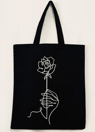"""Эко-сумка шоппер """"Роза в руке"""""""
