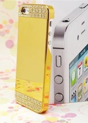 Пластиковый чехол с стразами Золотой Gold для IPhone 5/5s