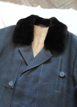 Зимнее мужское пальто на натуральном меху