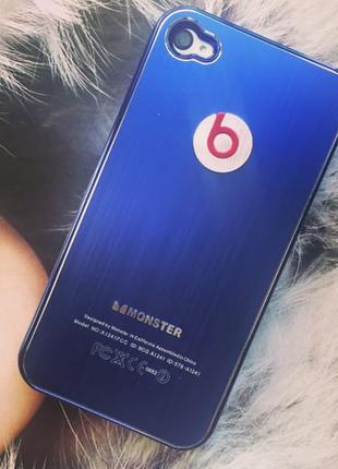 Чехол Monster Beats. by Dr. Dre Синий для IPhone 4/4s