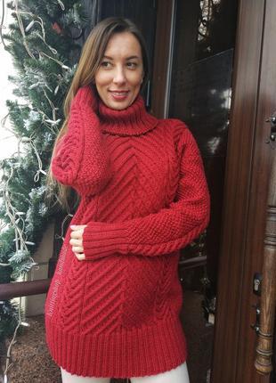Фактурный тёплый вязаный свитер с косами ручной работы
