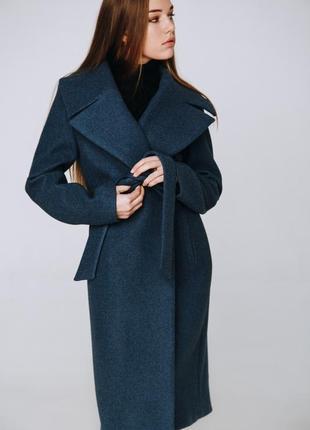 Осеннее женское пальто season сине-серого цвета