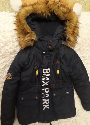 Зимняя детская куртка парка мальчику \р.122-128см \холлофайбер...
