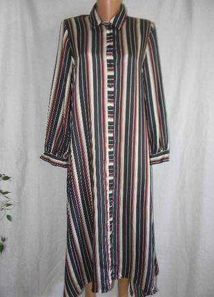 Натуральное платье рубашка свободного кроя в полоску