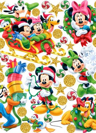 Интерьерные наклейки Новогодний Микки