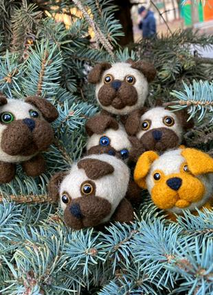 Игрушки валяные из шерсти подарок интерьерная Сувениры Бульдожки