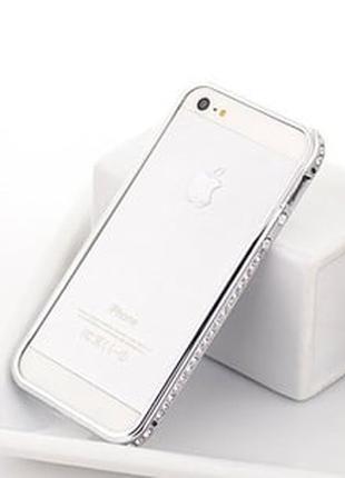 Серебристый металлический бампер с камнями в 1 ряд для IPhone 5/5