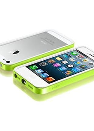 Бампер для iPhone 5 SGP Neo Hybrid EX 5s, цвет Зеленый с белым