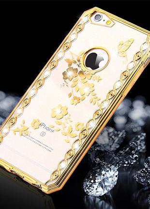 Силиконовый чехол со стразами Spring Gold Золотой для iPhone 5/5s