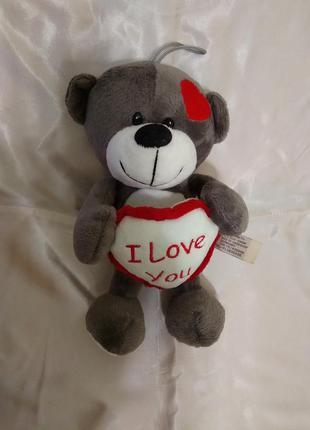 "Мягкая игрушка мишка с сердцем ""i love you"" ведмедик"