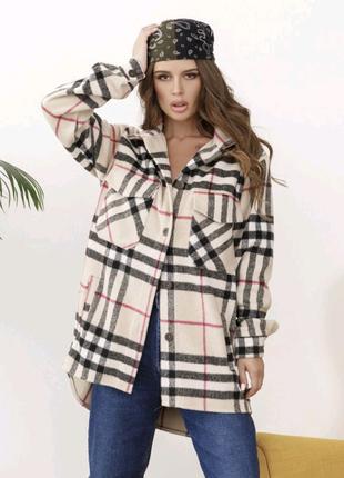 Кашемірова шерстяна сорочка пальто